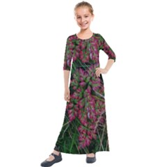 Pink Fringed Leaves Kids  Quarter Sleeve Maxi Dress