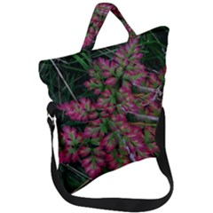 Pink Fringed Leaves Fold Over Handle Tote Bag