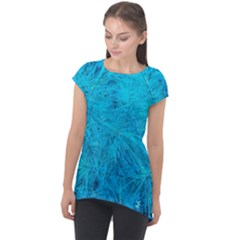 Turquoise Pine Cap Sleeve High Low Top by okhismakingart