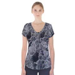 Tree Fungus Branch Vertical Black And White Short Sleeve Front Detail Top by okhismakingart