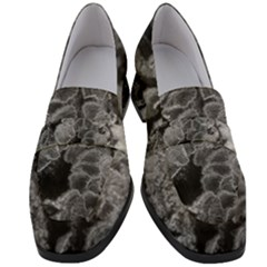 Tree Fungus Branch Vertical Black And White Women s Chunky Heel Loafers
