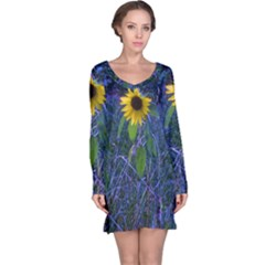 Blue Sunflower Long Sleeve Nightdress