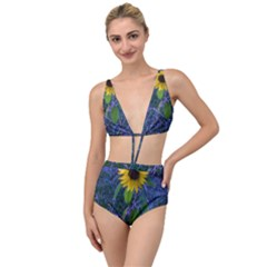 Blue Sunflower Tied Up Two Piece Swimsuit
