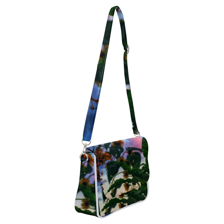 Sunflowers and Wild Weeds Shoulder Bag with Back Zipper