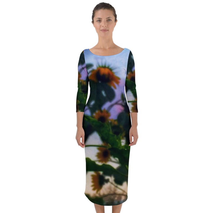 Sunflowers and Wild Weeds Quarter Sleeve Midi Bodycon Dress