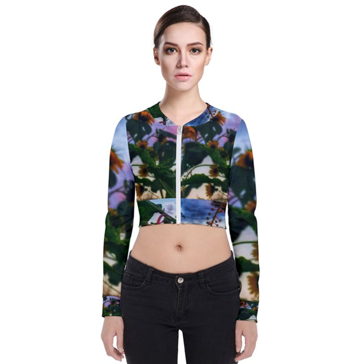 Sunflowers and Wild Weeds Long Sleeve Zip Up Bomber Jacket