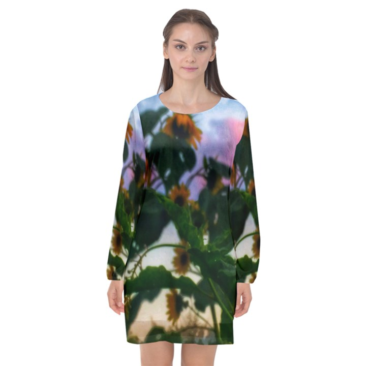 Sunflowers and Wild Weeds Long Sleeve Chiffon Shift Dress