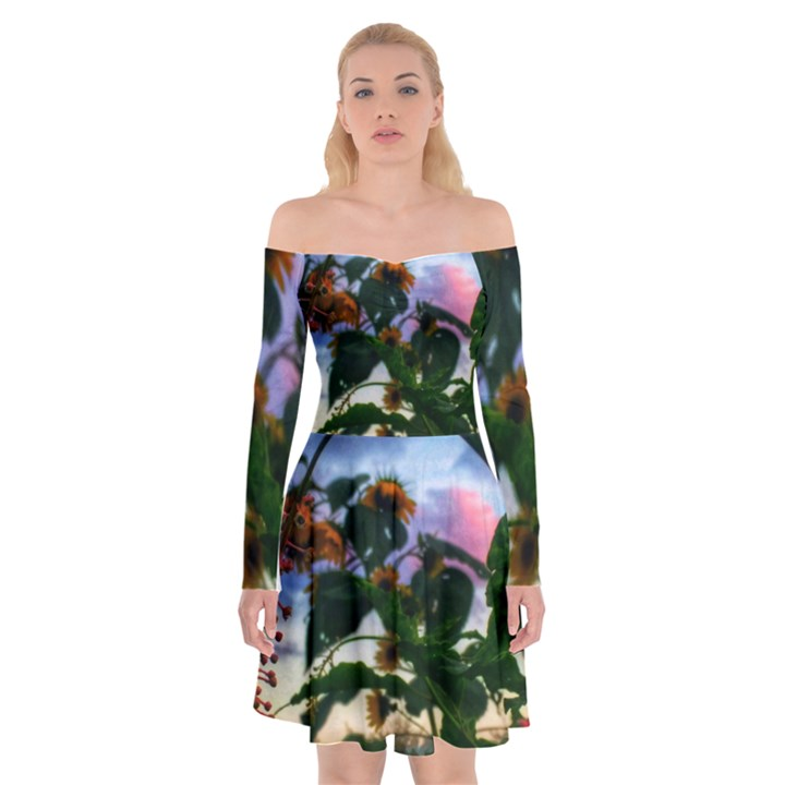 Sunflowers and Wild Weeds Off Shoulder Skater Dress