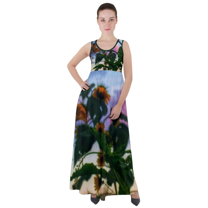 Sunflowers and Wild Weeds Empire Waist Velour Maxi Dress