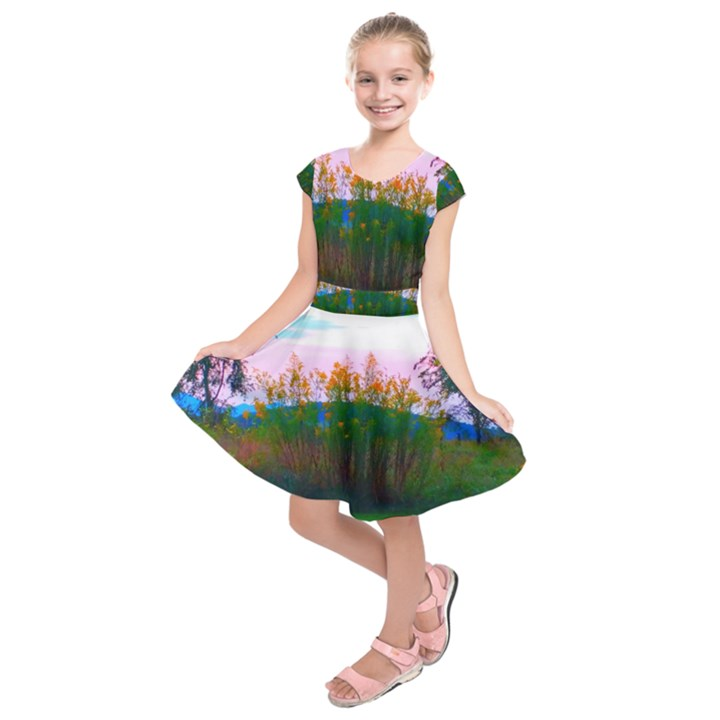 Field of Goldenrod Kids  Short Sleeve Dress