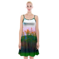 Field Of Goldenrod Spaghetti Strap Velvet Dress