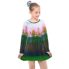 Field Of Goldenrod Kids  Long Sleeve Dress