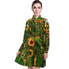 Sunflowers Long Sleeve Chiffon Shirt Dress
