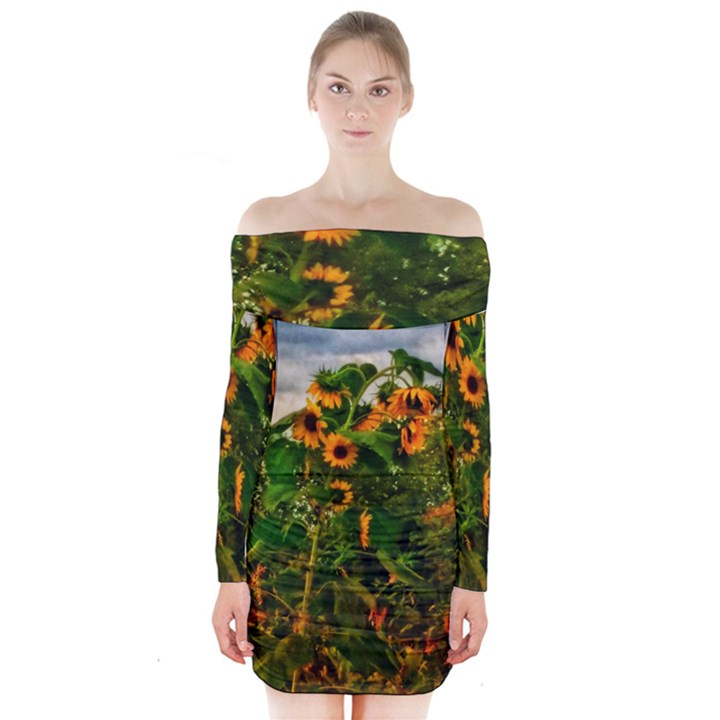 Sunflowers Long Sleeve Off Shoulder Dress