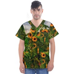 Sunflowers Men s V Neck Scrub Top