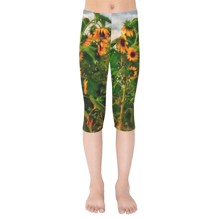 Sunflowers Kids  Capri Leggings