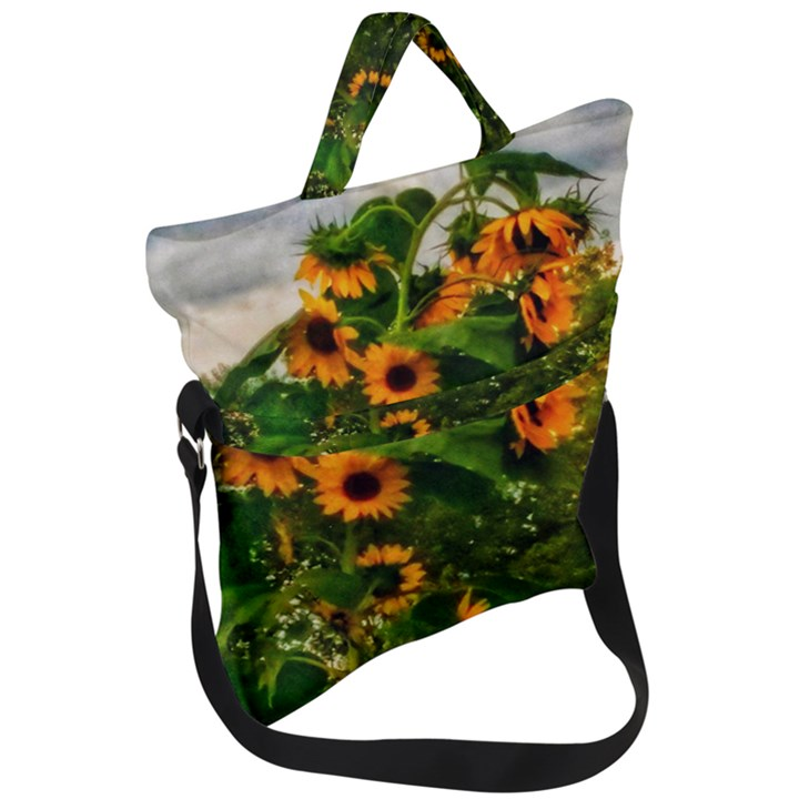 Sunflowers Fold Over Handle Tote Bag