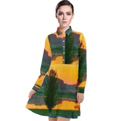 Lake Sunrise Long Sleeve Chiffon Shirt Dress