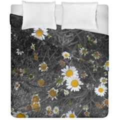 Black And White With Daisies Duvet Cover Double Side (california King Size) by okhismakingart