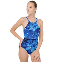 Blue Daisies High Neck One Piece Swimsuit