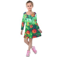 Intense Flowers Kids  Long Sleeve Velvet Dress by okhismakingart