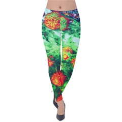 Intense Flowers Velvet Leggings by okhismakingart