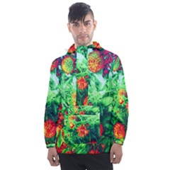 Intense Flowers Men s Front Pocket Pullover Windbreaker by okhismakingart