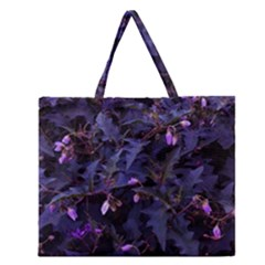 Purple Nettles Zipper Large Tote Bag
