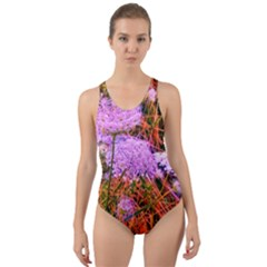 Blue Tinted Queen Anne s Lace Cut Out Back One Piece Swimsuit