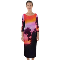 Sunset And Geraniums Quarter Sleeve Midi Bodycon Dress