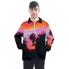 Sunset And Geraniums Men s Half Zip Pullover by okhismakingart