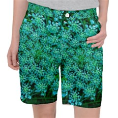 Turquoise Queen Anne s Lace Pocket Shorts