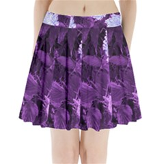 Queen Anne s Lace With Purple Leaves Pleated Mini Skirt by okhismakingart