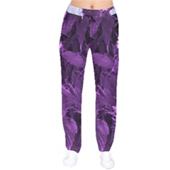 Queen Anne s Lace With Purple Leaves Velvet Drawstring Pants by okhismakingart