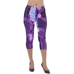 Queen Anne s Lace With Purple Leaves Lightweight Velour Capri Leggings  by okhismakingart