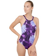 Queen Anne s Lace With Purple Leaves High Neck One Piece Swimsuit
