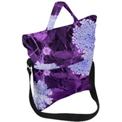 Queen Anne s Lace With Purple Leaves Fold Over Handle Tote Bag
