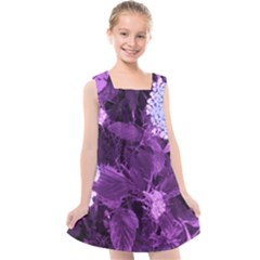Queen Anne s Lace With Purple Leaves Kids  Cross Back Dress by okhismakingart