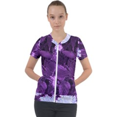 Queen Anne s Lace With Purple Leaves Short Sleeve Zip Up Jacket by okhismakingart