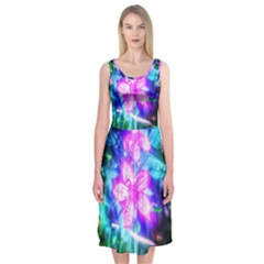 Glowing Flowers Midi Sleeveless Dress