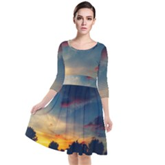 Muted Sunset Quarter Sleeve Waist Band Dress