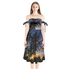 Sumac Sunset Shoulder Tie Bardot Midi Dress by okhismakingart