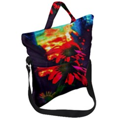 Neon Cone Flower Fold Over Handle Tote Bag
