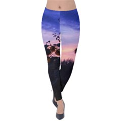 Sunflower Sunset Ii Velvet Leggings by okhismakingart