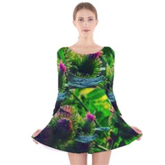 Bur Flowers Long Sleeve Velvet Skater Dress by okhismakingart
