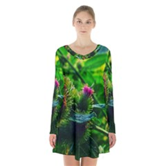 Bur Flowers Long Sleeve Velvet V Neck Dress by okhismakingart