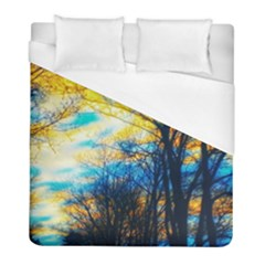 Yellow And Blue Forest Duvet Cover (full/ Double Size)