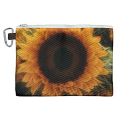 Single Sunflower Canvas Cosmetic Bag (xl) by okhismakingart