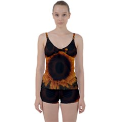 Single Sunflower Tie Front Two Piece Tankini