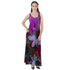 Grainy Green Flower (with Blue Tint) Sleeveless Velour Maxi Dress